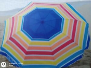NAUTICA 7 FT Rainbow Tide BEACH UMBRELLA W/ Flaps FAST FREE SHIPPING!!!