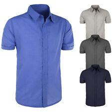 Camicia uomo Mezza Manica Corta Cotone Comfort Blu Grigio Beige Celeste VEQUE