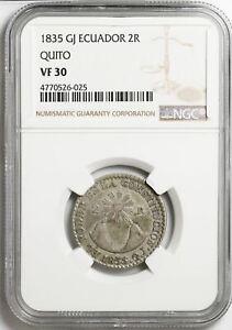 1835 GJ Ecuador 2 reales NGC VF 30 quito silver