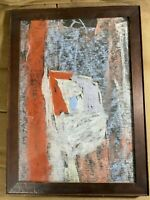 "Vintage ""Abstract Scene"" Chalk And Pastel Painting - Framed"