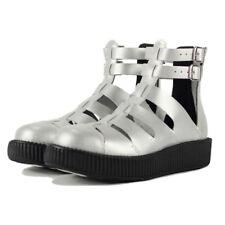 TUK Silver Leather Gladiator Shoes / Sandals on Viva Mondo Creeper Sole, Size 7