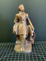 "Pushkin. Russian Poet. Sculpture. Bronze Figurine. Russia. 7"" On Pillar Outlook"