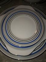 Meito Hand Painted China 12 Piece Dinnerware Set -Dinner, Salad, and Bread Plate