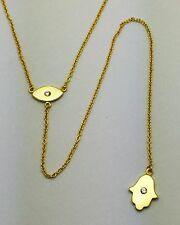.925 Gold Plated Sterling Silver Hamsa Evil Eye CZ Lariat Style Drop Y Necklace