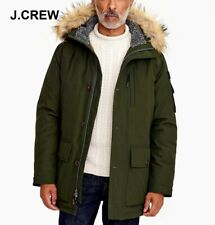 J.CREW Nordic parka winter jacket long coat olive green fur puffer hooded nr XXL