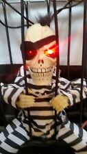 Hanging Skeleton Caged Jail Prisoner Halloween Decor Light Up Skull Motion