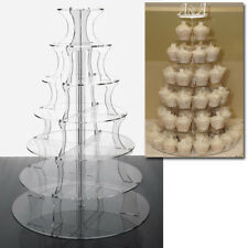 Round Cupcake Wedding Stand - 7 Tier Clear Plastic Cake Display Tower