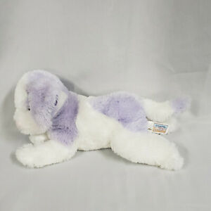 "Animal Alley Stuffed Plush White Lavender Purple Puppy Dog 2000 Geoffrey 12"""