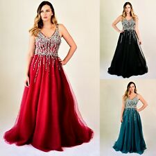 Womens Open back Full lenght Ball Gown Chiffon Embellished Formal Evening Dress