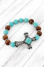 STRETCH BRACELET CROSS WITH WOOD AND TURQUOISE BEADS - HANDCRAFTED