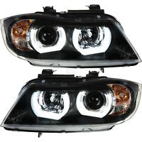 Scheinwerfer Set 3D U LED Angel Eyes BMW 3er E90 E91 Bj. 05-08 Limousine Touring