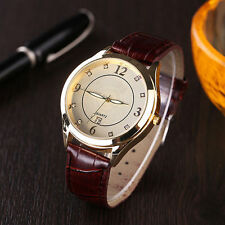 Men`s Gold Delux Fashion Quartz Ivory Patterned Dial Date Brown Band Wrist Watch