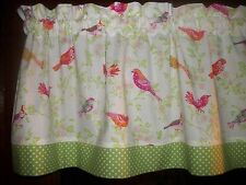 Birds Dogwood Flowers Polka Dots waverly fabric kitchen curtain topper Valance