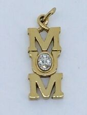 """""""MOM"""" gold plated Pendant with white stones"""