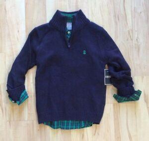 New Boy's Izod 2 Piece Set Green Plaid Dress Shirt & Blue 1/4 Zip Sweater XS 4/5