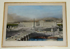 Stahlstich,kolorir.,Place d.l.Concorde,Paris,grav.J.Saddler,Passepartout,gerahmt