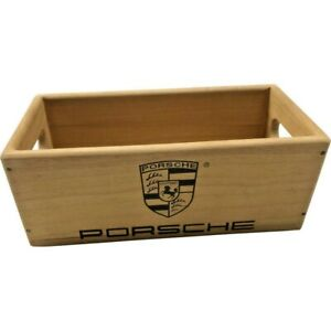 Wooden Storage Box Crate   Porsche Sportscar   Vintage Style Collectable