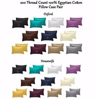 200 TC Thread Count 100% Egyptian Cotton Pillow Case Pair - Housewife / Oxford