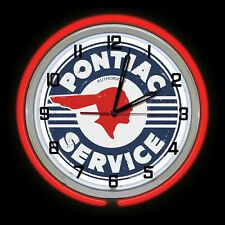 """18"""" Pontiac Service Distressed Sign Double Neon Clock Red Neon Man Cave Garage"""