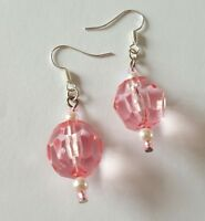 New Handmade Pink Round Acrylic Faceted Glass Pearl Beaded Dangle Drop Earrings