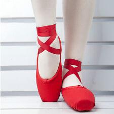 2 colors  Children's Ladies Satin Pointe Shoes Red Women Ballet Dance Toe shoes