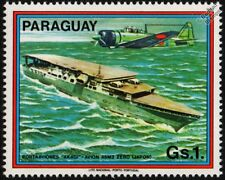 WWII Imperial Japanese Navy AKAGI Aircraft Carrier Warship & IJN A6M3 ZERO Stamp