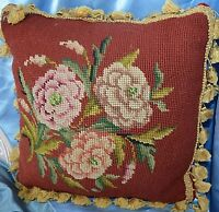 Vintage Needlepoint Pillow Floral Tassle Trim Square Velvet Backing Handmade