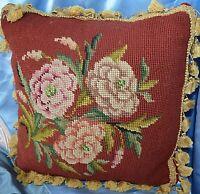 Vintage Needlepoint Pillow Floral Tassle Trim Square Velvet Backing Handmade