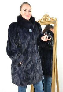 US3430 AMAZING REAL BLUE FARMER MINK FUR JACKET WITH FOX TRIMMING SIZE 2XL