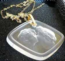 LALIQUE  CRYSTAL LOVERS PENDANT  9 CT GOLD CHAIN - SPECIAL £80 0FF