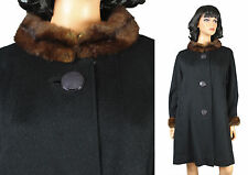 Vintage Princess Coat Sz L 50s 60s Black Wool Brown Fur Collar Cuffs Swing
