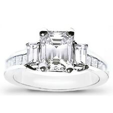 3.47 Ct. 3 stone baguette princess &Emerald Cut Diamond Engagement Ring channel
