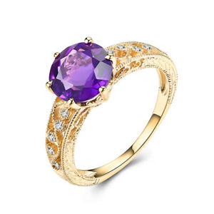 7.5mm Round 1.7ct Amethyst Diamond Ring 10K Yellow Gold Filigree Vintage Jewelry