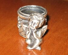 Adorable Cherub Cupid Pewter Taper Decorative Collectible Angel Candle Holder