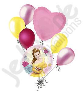 7 pc Beauty & the Beast Disney Princess Belle Balloon Bouquet  Birthday Movie