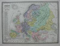 EUROPE IN 1100, FOUNDATION OF STATES, original antique map, Malte-Brun, c.1882
