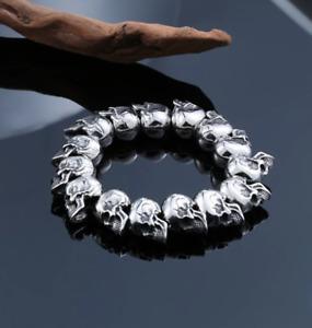 """Gothic Stainless Steel Skulls Bracelet Fashion Punk Men's Skulls Bangle 8"""""""
