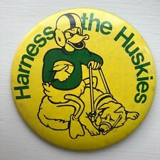 "Vintage Oregon Ducks Football ""Harness the Huskies"" Pinback Button"
