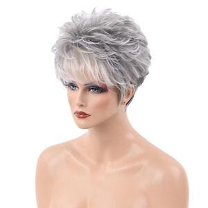 New Fashion Women Short White Gray Straight Human Hair Full Wigs Cosplay Wig