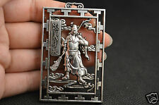 Vintage Collectible Handwork Tibet Silver Carving The Patriot Yue Fei Pendant