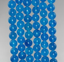 8MM  JADE GEMSTONE GRADE A APATITE BLUE ROUND LOOSE BEADS 15""