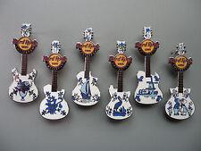 Hard Rock Cafe Amsterdam 2012 - Dutch Delft Tiles Guitar Compleet 6 pc Pin Set