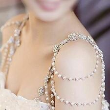Wedding Bridal Ivory Pearl Bra Strap Shoulder Halter Necklace Pair Jewelry