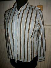 Chemisier coton bleu ciel rayé  marron EDEN PARK TEAM T.2 40 42 manches longues