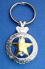 Western Cowboy Jewelry Bright Silver Engraved Gold Star Concho Key Ring Kit