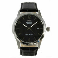Orient Men's Watch Automatic Silver Tone Case Black Dial Leather Strap AC05006B