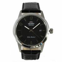 Orient Men's Watch Automatic Silver Tone Case Black Dial Leather Strap AC05006B