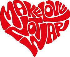"""Make Love Not War Heart Car Bumper Sticker Decal 5"""" x 4"""""""