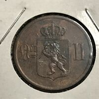 1884 NORWAY 2 ORE BRONZE COIN