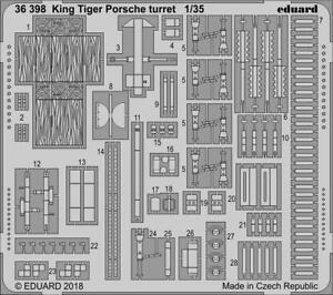 Eduard 1/35 King Tiger Porsche Turret Detail Set (PE) for Meng Models